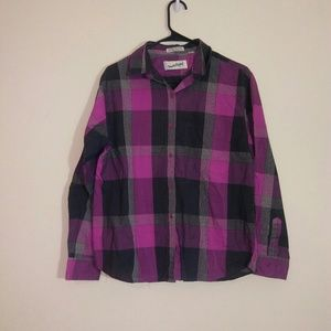 DVF Sz 14 Vintage Button Front Plaid Shirt